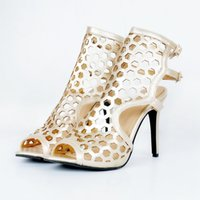 Wholesale Sexy Shoes Small Heels - Small Hole Heel Straps Women Shoes Summer Style Open Toe High Heel Stilettos Heels Women Sexy High Heels Shoes