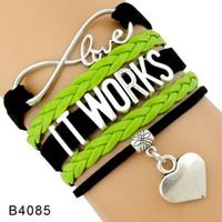 Wholesale Mens Leather Infinity Bracelet - Custom New Fashion Infinity Love It Works Leather Wrap Bracelet Heart Charm Black Green Leather Mens Women's Fashion