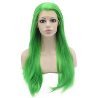 "grüne mode perücke groihandel-24 ""Lange Grüne Seidige Gerade Halbe Hand Gebunden Hitzebeständige Synthetische Faser Lace Front Fashion Cosplay Party Perücke S02"