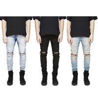 agujeros de jeans destruidos al por mayor-Slim Fit Pantalones vaqueros desgarrados Hombres Hi-Street Joggers de mezclilla desgastados Agujeros de rodilla Jeans destruidos lavados más S