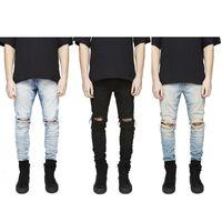 jeans destrozados desgastados para hombre al por mayor-Slim Fit rasgó agujeros rodilla pantalones vaqueros de los hombres de alta de la calle para hombre apenada dril de algodón Joggers lava destruidos Jeans Plus S