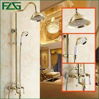 Wholesale Sliding Shower Faucets - Rainfall Shower Faucet Set With Slide Bar Tub Faucet Mixer+Handle Shower Gilt Porcelain Golden Bronze Wall Mount Finish HS035