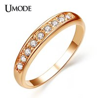 UMODE 50% OFF! 18K Rose Gold Plated TOP Classe 9 peças Rhinestones Studded Eternity Wedding Ring JR0001A