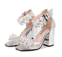 Wholesale Silver Gem Sandals - 2017 Cinderalla silver crystal gem ankle strap thick high heel bride wedding shoes sandals 2017