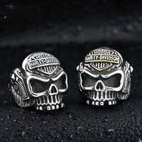 Wholesale 316 L Rings - 316 L STAINLESS STEEL BIKRER SKULL RINGS HIP HOP JEWELRY FOR CHEAP JEWELRY