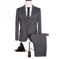 Wholesale Men Fashion Luxury Vest - Wholesale- (Jacket+Pant+Vest) Suits Men High Quality Luxury Fashion Brand Formal Blazer Slim Fit Costume Homme Wedding Dress Big Size S153