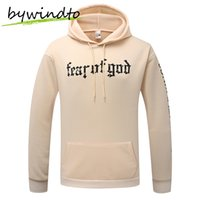 Wholesale Justin Bieber Winter - Wholesale-Justin Bieber autumn winter new upper body pure FOG hooded Hoodies Sweatshirts apricot male