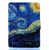 Wholesale Print Screen Protector - Wholesale- Painting smart case for kinlde 2014 7th generation cover print pu leather Van Gogh case(starry night)+screen protector+stylus