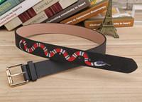 ingrosso scatole di fibbia-Colore nero caldo Lusso Cinture di design di alta qualità Moda serpente modello animale fibbia della cintura da donna da uomo ceinture non con la scatola