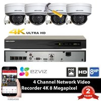 Wholesale I N - Mutil langua HIKvision DS-7604NI-K1 4P 4ch 4K POE NVR with original Hik DS-2CD2142FWD-I 4MP poe IP IR Vandalproof Dome Camera system kit