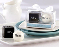 Discount salt boxes - Free shipping by DHL 200pcs lot=100sets lot! Mr&Mrs 2 shakers in 1 gift box Ceramic Salt&Pepper Shakers Wedding Favor gifts