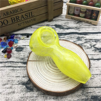 "Wholesale Gift Candy Glass Box - Yellow Candy Color Glass spoon smoking bubbler Glass Hand pipes 3.7"" tobacco oil burner pipes"