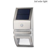 capteur ip44 pir achat en gros de-Lumière solaire de LED en acier inoxydable Lumière solaire corps de capteur Infrarouge lampe à induction 2LED Lampe de plafond lampe de jardin PIR