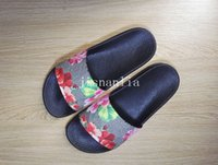 Wholesale Mens Sandals Free Shipping - new arrival 2017 mens and womens fashion causal sandals blooms tian flower print slide sandals free shipping