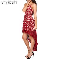 Wholesale Evening Dresses High Low Maxi - 2017 High Low Red Full Lace Women Maxi Dress Ankle Length Robe De Soiree Evening Backless Embroidery A Line Party Dresses e61443