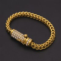Wholesale Jewelry Foxes - Box Clasp Fox Franco Link Bracelet 20cm Iced Out Rhinestone Gold Silver Filled Chain Mens Hip hop Bracelet bling jewelry