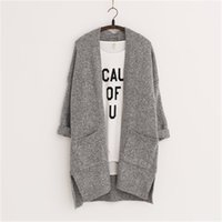 Wholesale Long Women Cardigans Feminino Autumn Winter Brand Long Style Knitted with Pockets Sweaters European Style LJ3724
