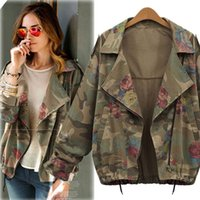 Wholesale Leather Jacket Ladies - Wholesale- 2016 New Hot Vintage Army Green Camouflage Jacket Long Sleeve Denim Jackets Zipper Flower Print Coats for Fashion Lady