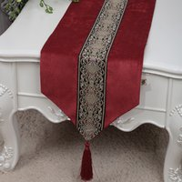 Wholesale Table Runners Europe - Short Length Classic Patchwork Lace Table Runner Velvet Fabric Dining Table Pads Placemat Europe American style Tea Table Cloth 150x33 cm