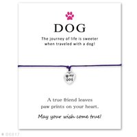 Wholesale Customizable Jewelry - Customizable Silver Love My Dog Charm Bracelets & Bangles for Women Girls Adjustable Friendship Jewelry with Card