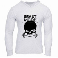 Wholesale Skulls Mode - Wholesale- KELE SHINE Spring Autumn Men Beast Mode Hoodies Fitness Bodybuilding Hoodies Gyms Clothing Cotton Skull Sweatshirts m-6