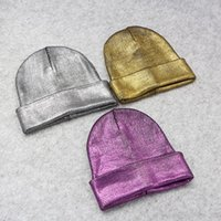 Wholesale Halloween Shiny Metallic - Women Metallic Knit Beanie Unisex Chunky Trendy Shiny Cap Fashion Comfy Warm Soft Ski Skull Party Cuff Hat 10pcs lot
