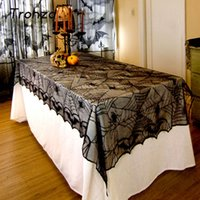 Wholesale lace table cloth wholesale - Lace Black Spider Web Halloween Decoration For Home Party Props Rectangle Table cover Table cloth Overlay