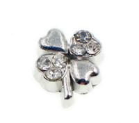 yüzen elmas taşları toptan satış-20 adet / grup Rhinestones 4 yapraklı Yonca Yüzer Locket Charms Yaşam Hafıza Locket DIY Takı Bulguları Için Fit