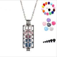Wholesale Dolphin Silver - long cylinder pearl accessories Disffuser Dolphins Necklace Locket Essential Oil Diffuser Necklaces Hollow out Locket Cage Pendant Necklace