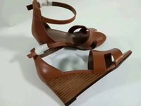 Wholesale hollow out wedge sandal - 2017 big European style luxury designer shoes casual shoes sandals slippers, fine leather surface slope with simple hollow, with rubber outs