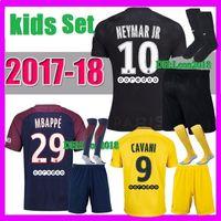 bd8c9989f kids kits 2017 2018 PSG NEYMAR JR soccer jerseys 17 18 youth MBAPPE Di  Maria Draxler DANI ALVES Cavani 3rd football jersey shirt ...
