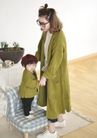 Wholesale Womens Wholesale Cotton Cardigan - Mother and dauther outwear INS girls knitting coat womens double pocket sweater long cardigan coat family autumn cotton clothing T0389