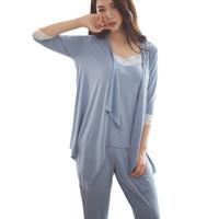 Wholesale Ladies Three Piece Pajamas - 2017 Spring Summer Fashion pajamas Women Sleepwear Three Piece Casual Sets Shirt Pants Set Elegant Suit for home Ladies Clothing