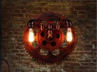 antika endüstriyel ışıklar toptan satış-Amerikan Retro Su Borusu Duvar Işık Fikstür Edison Loft Endüstriyel Antika Duvar Lambası Eski Ahşap Dişli Şekli Duvar Aplik Lamparas