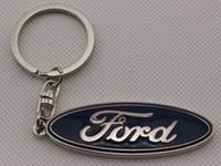 Wholesale keyring car logo - Chome 3D Car logo key Fob Keychain Keyring Key Chain Key Ring KeyHolder For Ford