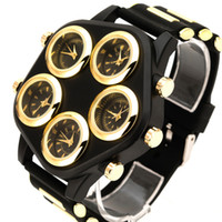 Wholesale Watch Hip Hop - VFSKN Mens Big Face Fashion luxury watches Super Large Dial Punk Hip-hop Cool Personality WristWatch with five dial(Gold;Silver;Red)