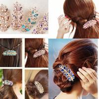 saç incircikleri toptan satış-Saç Klip Yaprak Kristal Rhinestone Barrette Firkete Bandı Hairgrips Takı Bijuteri Biblo Süs aksesuarları Için Kadın