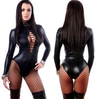 Wholesale Cheap Latex Catsuit - cheap Women's Jumpsuit Black Sexy Leather Dresses Long Sleeve Bodysuits Erotic Leotard Latex Catsuit Costume 2017 wholesale in stock