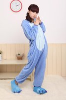 Wholesale Adult Costume Dora - costume dora Pijams 2017 Flannel Humorous Animal Blue Stitch Onesie Adult Unisex Pyjamas Cosplay Costume Pajamas Party Dress Size XXS XL