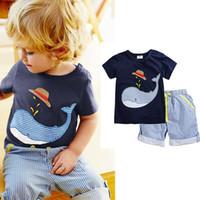Wholesale Hat Dinosaur - Boy INS whale hat stripe suit Summer new children cartoon dinosaur ins Short sleeve T-shirt + shorts 2 pcs Suit baby clothes A080