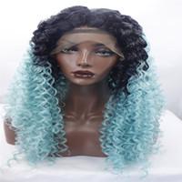 mejores productos para el cabello negro al por mayor-pelucas delanteras del cordón Pelo rizado peluca del pelo sintético de la mejor calidad dos tonos negro / azul, mujer negra ondulada Frente del cordón del pelo rizado Productos calientes americanos