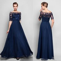 Wholesale Sexy Short Sequin Evening Dress - Navy Blue Evening Dresses 2017 Half Sleeves Beaded Chiffon Off Shoulder Formal A Line Mother of the Bride Groom Dresses Floor Length