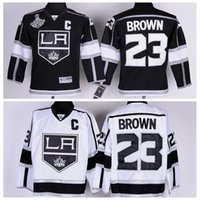 Wholesale King Style Logo - LA Style Kings #23 Brown 2014 Stanley Cup Champion Hockey Jerseys White Hockey Wears Name Logo Stitched Cheap Ice Hockey Uniforms