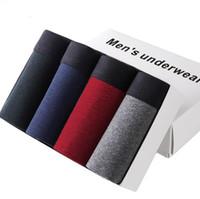 Wholesale Men Underwear Plain - 4PCS Lot Underwear Men Breathable Male Boxers Short Plain Mens Bodysuit Under Pant 95% Cotton 5% Spandex L-3XL Without Box Pack
