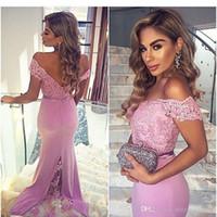 kardashian robes d'occasion spéciale achat en gros de-2019 lumière pourpre hors épaule robes de soirée robes de soirée en dentelle sirène formelle robes de soirée de bal avec boutons robes de demoiselle d'honneur CPS211