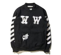 Wholesale White Collar Suit Designer - men jacket Latest designer brand Off white back spray beauty pitcher male and female couple baseball suit jacket