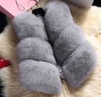 Wholesale New Winter Women s Thick Warm Faux Fox Fur Vest High Quality Fashion O Neck Short Fur Coat For Women Outwear