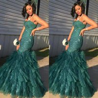 Wholesale Teal Sweetheart Mermaid Dress - Teal Green Arabic Sequined Evening Dresses 2017 Mermaid Lace Sweetheart Backless Organza Prom Dress For Women Formal Celebrity Party Gowns