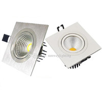 Wholesale Head Beds - Square COB LED Recessed Ceiling Down Lights Silver White 3w 5w 7w 9w 12w single head ceiling spotlights downlight led lighting SAA UL