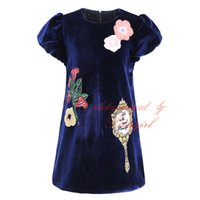 Wholesale Vintage Girls Dress Patterns - Pettigirl Vintage Girl Black Dress Casual Round Neck With Flower Pattern Bontique Summer Kids Clothing Cotton G-DMGD908-851